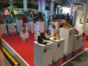 Timberland boots display for Mediacorp Design a shoe The big heart campaign
