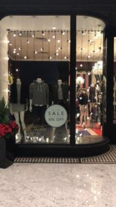 Jack Wills store window display set up for christmas