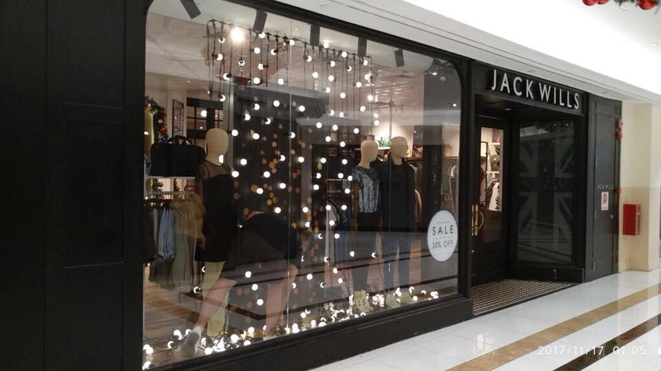 Jack Wills store window display set up for christmasJack Wills store window display set up for christmas