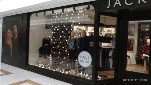 Jack Wills store window display set up for christmasJack Wills store window display set up for christmas